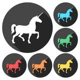 Silhouette of Unicorn Horse icons set with long shadow. Vector icon Royalty Free Stock Photos