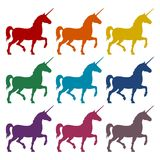 Silhouette of Unicorn Horse icons set. Vector icon Stock Photography