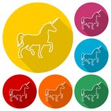 Silhouette of Unicorn Horse line icons set with long shadow. Vector icon Stock Photo