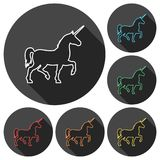 Silhouette of Unicorn Horse line icons set with long shadow. Vector icon Royalty Free Stock Photography