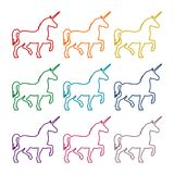 Silhouette of Unicorn Horse line icons set. Vector icon Royalty Free Stock Images