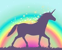 Silhouette of a unicorn on a rainbow background Royalty Free Stock Photo