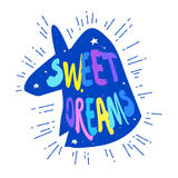 Silhouette of unicorn with stars and lettering text Sweet Dreams. Cartoon vector sticker Royalty Free Stock Photo
