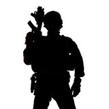 Silhouette of United States Army ranger. With assault rifle Stock Images