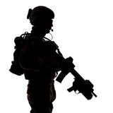 Silhouette of United States Army ranger Royalty Free Stock Images