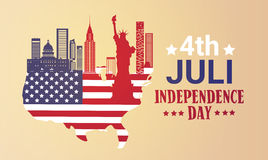 Silhouette United States Map With Landmarks Independence Day Holiday 4 July Banner Royalty Free Stock Image