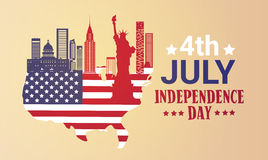 Silhouette United States Map With Landmarks Independence Day Holiday 4 July Banner Royalty Free Stock Photos