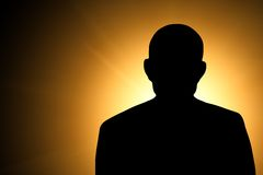 Silhouette of an unknown man Stock Photos