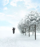 Silhouette unrecognizable person, leaving deep snowfall Royalty Free Stock Image
