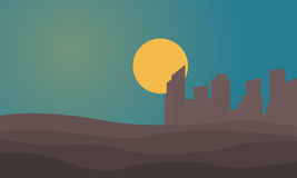 Silhouette of urban city on desert Stock Photography