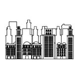 Silhouette urban cityscape and residential apartments scene icon Stock Photos