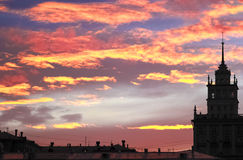 The silhouette of the urban landscape on a background beautiful sunset Royalty Free Stock Photography