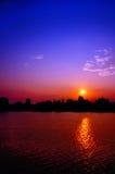 Silhouette of urban skyline Royalty Free Stock Photo