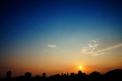 Silhouette of urban skyline Royalty Free Stock Images