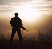Silhouette of US marine Royalty Free Stock Photo