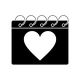 Silhouette valentine day calendar love heart date. Vector illustration eps 10 royalty free illustration