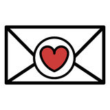 silhouette valentine romantic envelopes with heart draw Royalty Free Stock Image