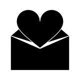 Silhouette valentines day romantic mail heart envelope open Stock Photography