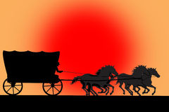 Silhouette of van with horses and cowboy. On a red sun background royalty free illustration