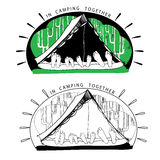 Silhouette variations of funny camping tents on. Funny Camping - Silhouette variations of funny camping tents on forest background Royalty Free Stock Photos