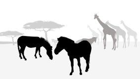 Silhouette-vecteur de l'Afrique de safari Illustration Libre de Droits