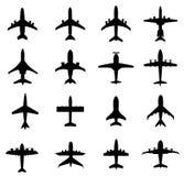 Silhouette-vecteur différent d'avion Photos stock