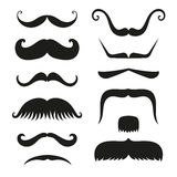 Silhouette vector black white mustache hair hipster curly collection beard barber and gentleman symbol fashion human Royalty Free Stock Photo