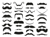 Silhouette vector black white mustache hair hipster curly collection beard barber and gentleman symbol fashion human Royalty Free Stock Images