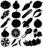 Silhouette Vector Of Fruit & Vegetable Royalty Free Stock Photo