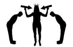 Silhouette vector selfish woman with a crown on her head trying to attract attention. The servants worship her. The concept of selfishness and narcissism Royalty Free Stock Photography