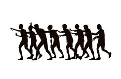 Silhouette vector zombie group walking. Royalty Free Stock Images