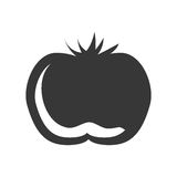 Silhouette vegetable tomato graphic icon Stock Images