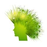 Silhouette verte de femme avec le cheveu d'herbe Images stock