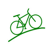 Silhouette verte de vélo Photos stock
