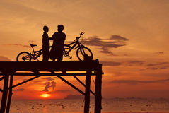 Silhouette view activity Stock Images
