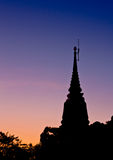 Silhouette view of Buddhist pagoda Stock Images