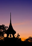 Silhouette view of Buddhist temple belfry Royalty Free Stock Photo