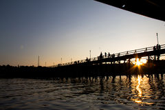 The Silhouette view of the famous woods bridge at Thailand. The Silhouette view of the famous woods bridge of Sangkhaburi, Thailand stock photography