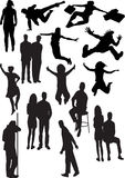 Silhouette view of human motifs, expressions, posi Stock Images