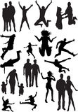 Silhouette view of human motifs, expressions, posi. Tions Royalty Free Stock Photography