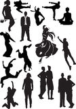 Silhouette view of human motifs, expressions, posi. Tions Royalty Free Stock Image