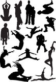 Silhouette view of human motifs, expressions, posi. Tions Stock Photo
