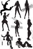 Silhouette view of human motifs, positions, moves Stock Photos