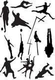 Silhouette view of human motifs, sports, positions Stock Photos