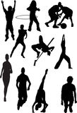Silhouette view of human motifs,sports, positions Stock Photography