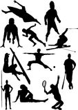 Silhouette view of human motifs,sports, positions Stock Image