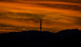 Silhouette View of Mosque in Samsun Stock Photography