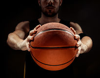 Free Silhouette View Of A Basketball Player Holding Basket Ball On Black Background Royalty Free Stock Photos - 75888468