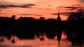 Silhouette view of pagoda at twilight sky Stock Image