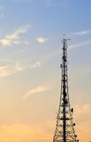 Radio transmission tower. Silhouette view of radio transmission tower at twilight stock photos